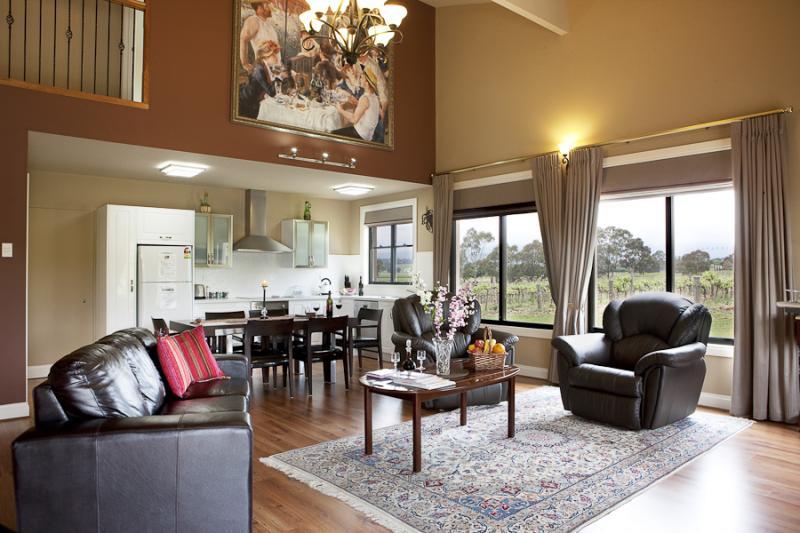 Lounge with woodfire heater - Barossa Shiraz Estate
